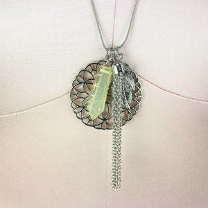 """Mudd Necklace 27""""-30"""" Silver-Tone with Flower"""